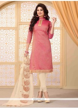 Savory Lace Work Pink Jute Silk Churidar Salwar Suit