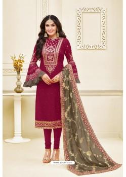 Medium Violet Heavy Embroidered Designer Party Wear Satin Georgette Churidar Salwar Suit