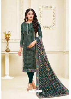 Teal Heavy Embroidered Designer Party Wear Satin Georgette Churidar Salwar Suit