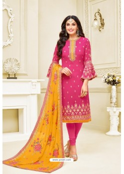 Rani Heavy Embroidered Designer Party Wear Satin Georgette Churidar Salwar Suit