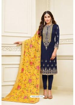 Navy Blue Heavy Embroidered Designer Party Wear Satin Georgette Churidar Salwar Suit
