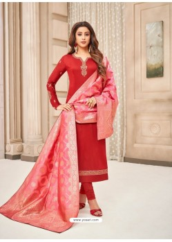 Red Embroidered Designer Party Wear Pure Cotton Jam Silk Churidar Salwar Suit
