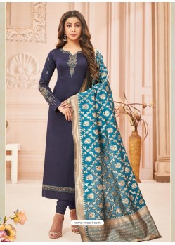 Navy Blue Embroidered Designer Party Wear Pure Cotton Jam Silk Churidar Salwar Suit