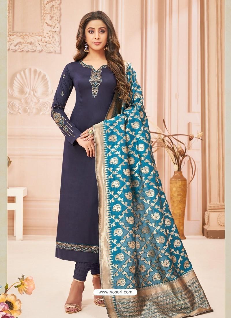 Navy Blue Embroidered Designer Party Wear Pure Cotton Jam Silk Churidar Salwar Suit