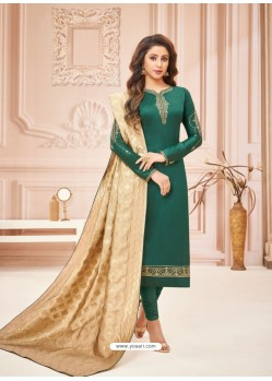 Dark Green Embroidered Designer Party Wear Pure Cotton Jam Silk Churidar Salwar Suit