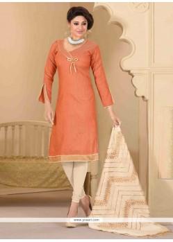 Perfect Lace Work Peach Churidar Salwar Suit
