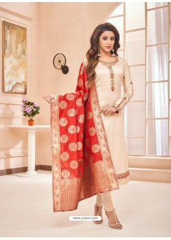 Light Beige Embroidered Designer Party Wear Pure Cotton Jam Silk Churidar Salwar Suit