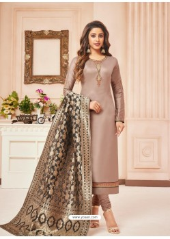Taupe Embroidered Designer Party Wear Pure Cotton Jam Silk Churidar Salwar Suit