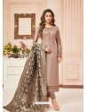 Taupe Embroidered Designer Party Wear Pure Cotton Jam Silk Churidar Salwar Suit