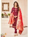 Maroon Embroidered Designer Party Wear Pure Cotton Jam Silk Churidar Salwar Suit