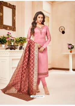 Pink Embroidered Designer Party Wear Pure Cotton Jam Silk Churidar Salwar Suit