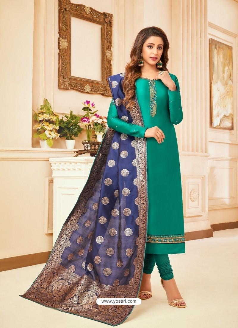 Aqua Mint Embroidered Designer Party Wear Pure Cotton Jam Silk Churidar Salwar Suit