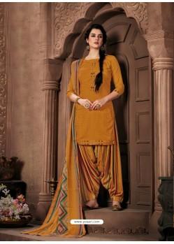 Mustard Designer Wear Pure Pashmina Jacquard Punjabi Patiala Suit