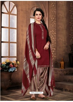 Maroon Designer Wear Pure Pashmina Jacquard Punjabi Patiala Suit