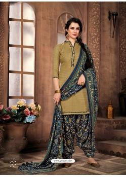 Olive Green Designer Wear Pure Pashmina Jacquard Punjabi Patiala Suit