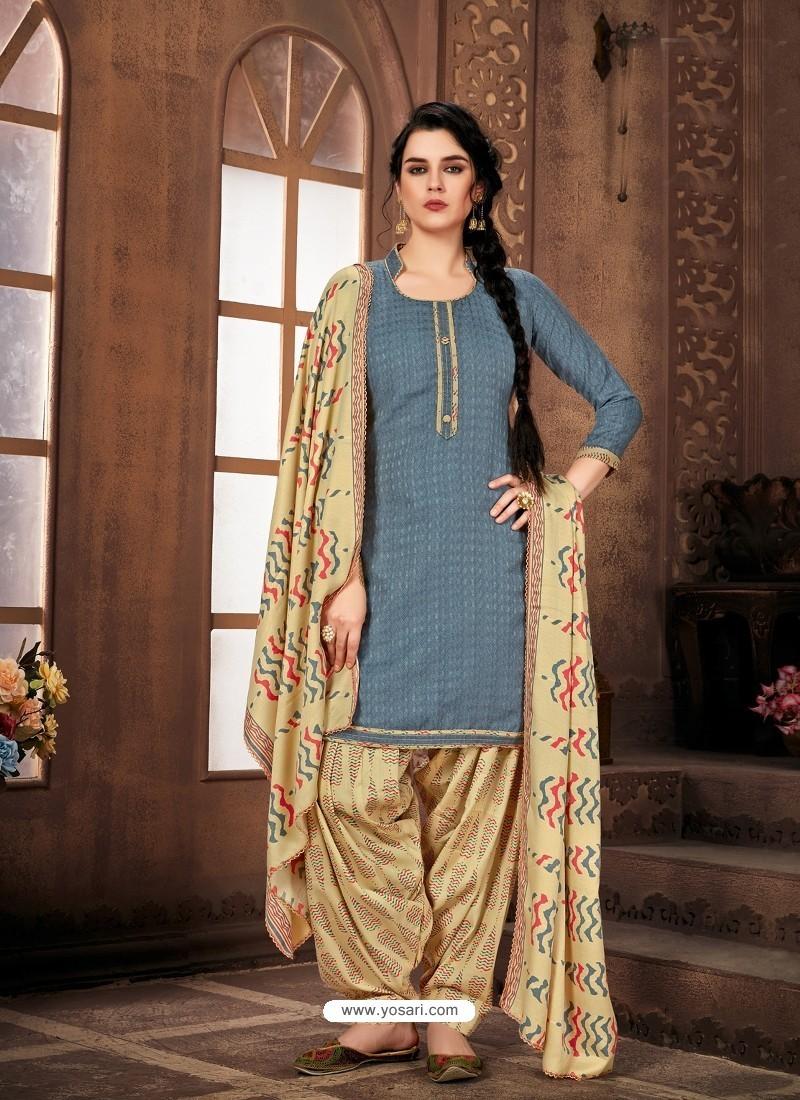 Pigeon Designer Wear Pure Pashmina Jacquard Punjabi Patiala Suit
