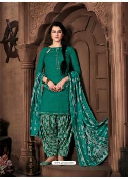 Teal Designer Wear Pure Pashmina Jacquard Punjabi Patiala Suit