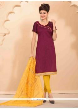 Princely Lace Work Banarasi Silk Churidar Salwar Suit