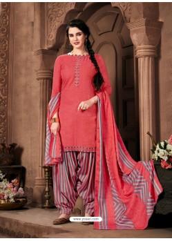 Peach Designer Wear Pure Pashmina Jacquard Punjabi Patiala Suit