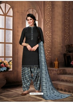 Black Designer Wear Pure Pashmina Jacquard Punjabi Patiala Suit
