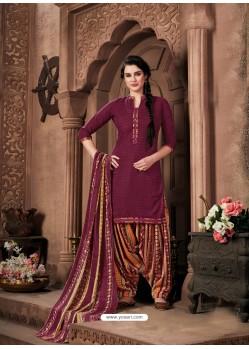 Deep Wine Designer Wear Pure Pashmina Jacquard Punjabi Patiala Suit