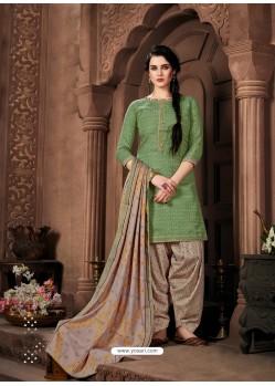 Green Designer Wear Pure Pashmina Jacquard Punjabi Patiala Suit
