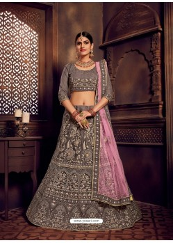 Grey Heavy Embroidered Designer Wedding Lehenga Choli