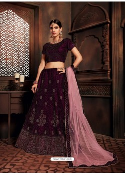 Deep Wine Heavy Embroidered Designer Wedding Lehenga Choli