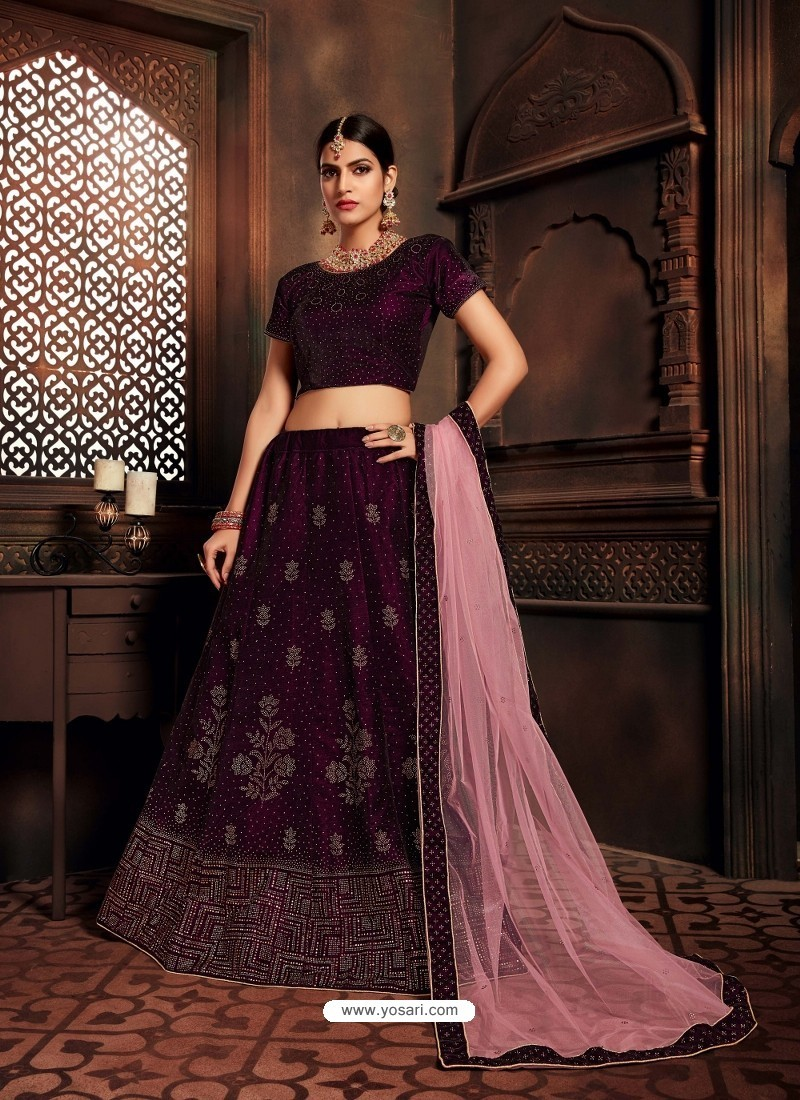 Deep Wine Heavy Embroidered Designer Wedding Lehenga Choli