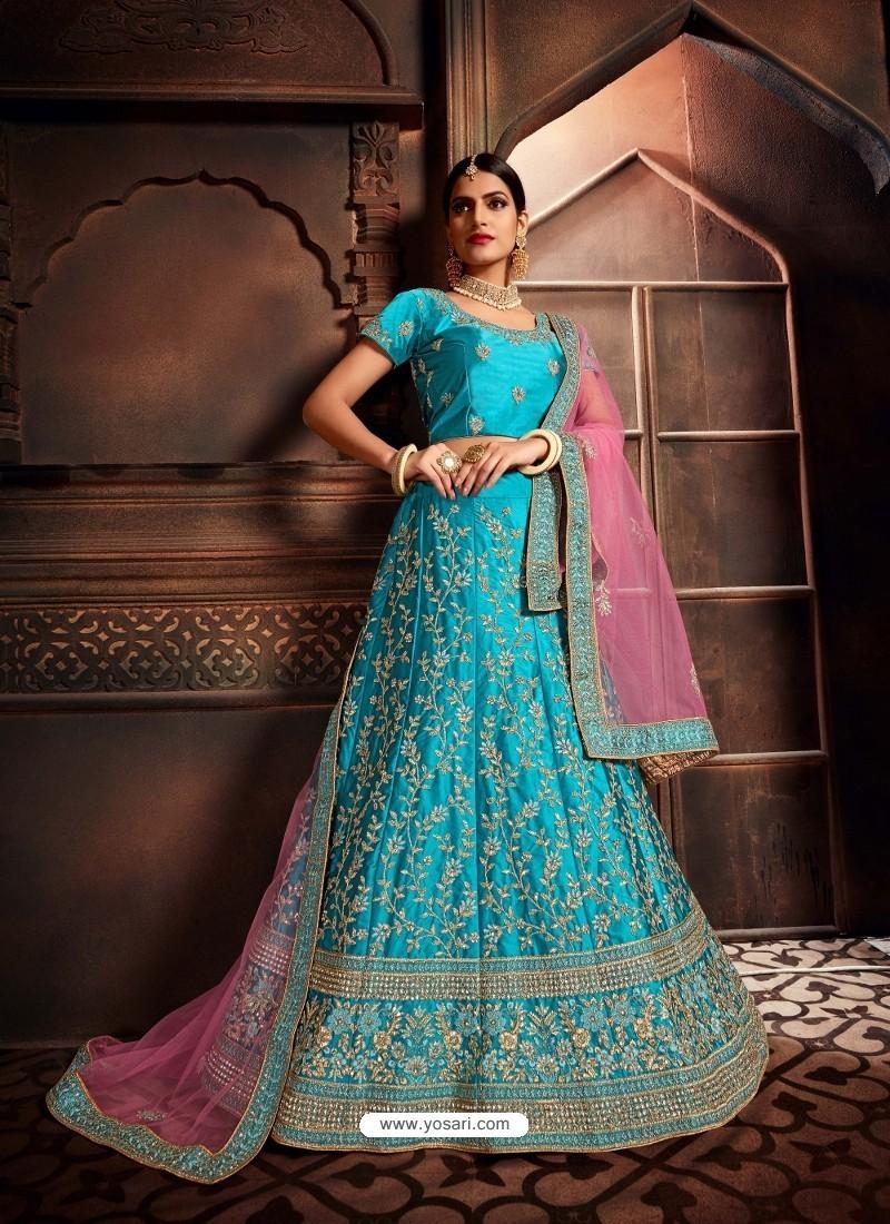 Turquoise Heavy Embroidered Designer Wedding Lehenga Choli