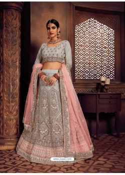 Light Grey Heavy Embroidered Designer Wedding Lehenga Choli