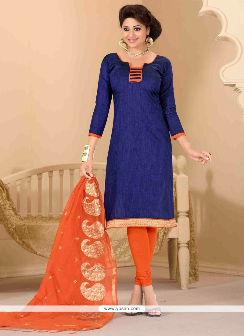 Precious Jute Silk Lace Work Churidar Salwar Suit