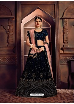 Navy Blue Heavy Embroidered Designer Wedding Lehenga Choli