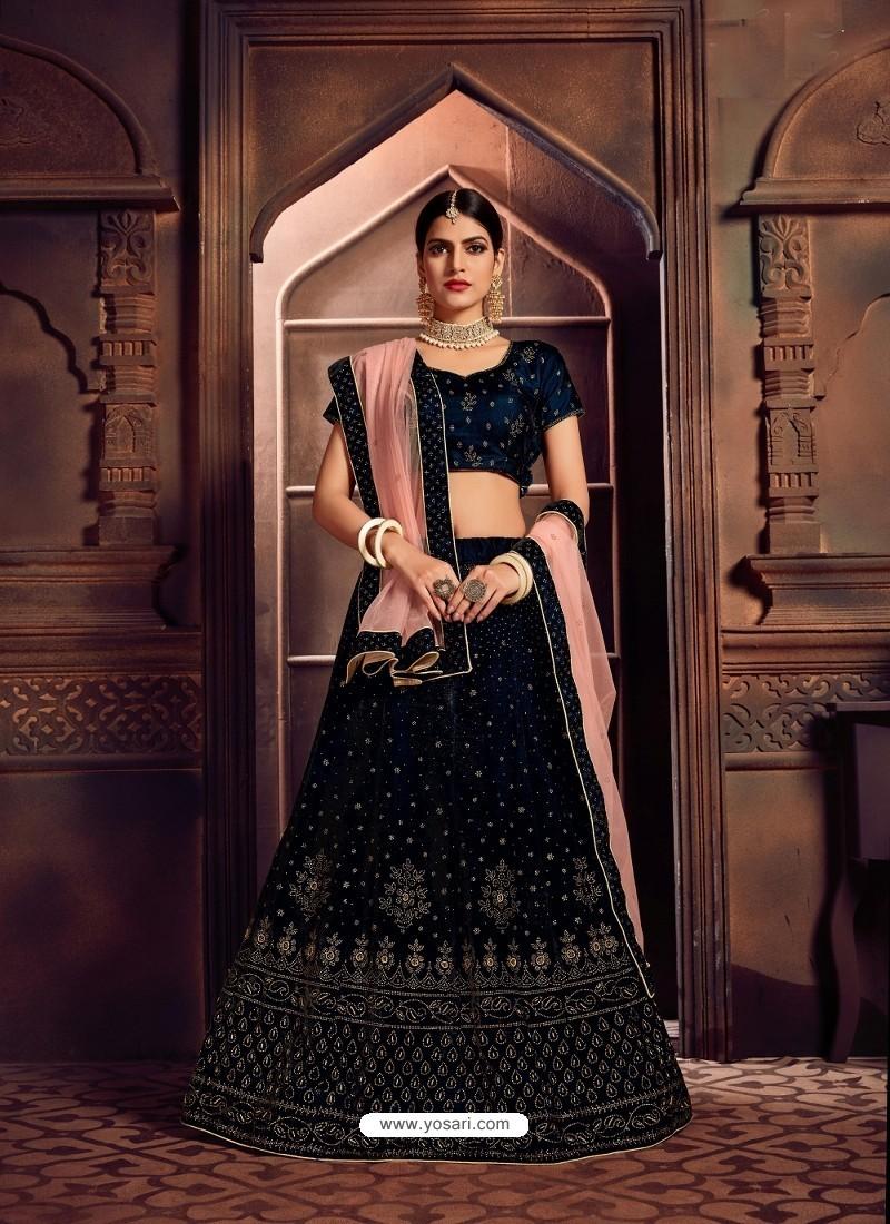 Navy Blue Heavy Embroidered Designer Wedding Lehenga Choli