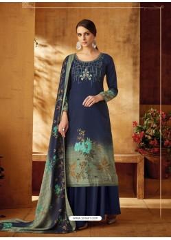 Dark Blue Designer Wear Pure Pashmina Jacquard Palazzo Salwar Suit