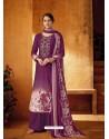 Medium Violet Designer Wear Pure Pashmina Jacquard Palazzo Salwar Suit