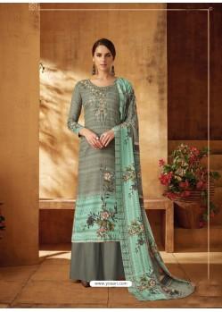Grayish Green Designer Wear Pure Pashmina Jacquard Palazzo Salwar Suit
