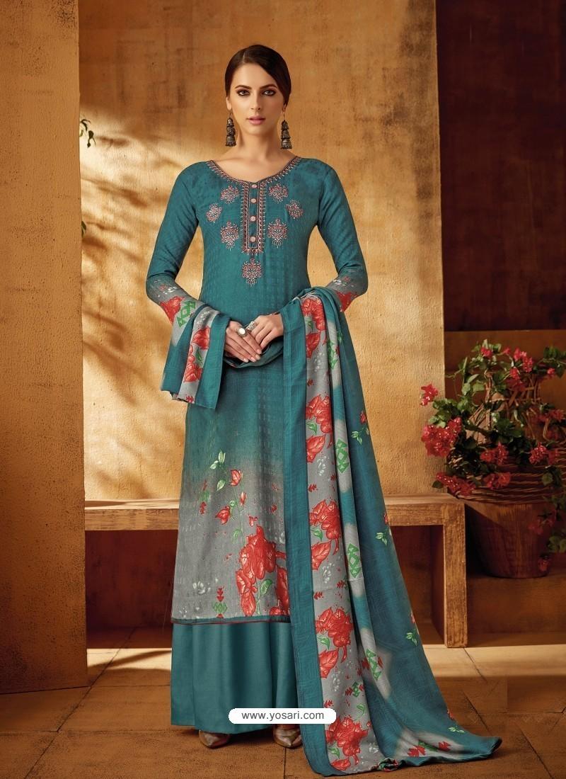 Teal Designer Wear Pure Pashmina Jacquard Palazzo Salwar Suit