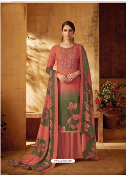 Peach Designer Wear Pure Pashmina Jacquard Palazzo Salwar Suit