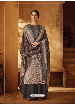 Light Brown Designer Wear Pure Pashmina Jacquard Palazzo Salwar Suit