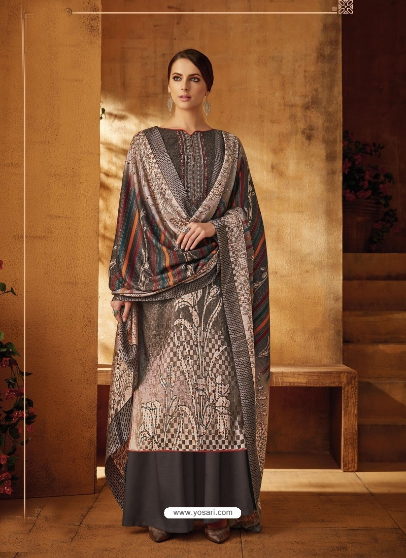 Light Brown Designer Wear Pure Pashmina Jacquard Palazzo Salwar Suit