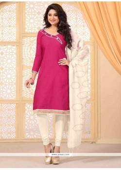 Riveting Lace Work Hot Pink Jute Silk Churidar Salwar Kameez