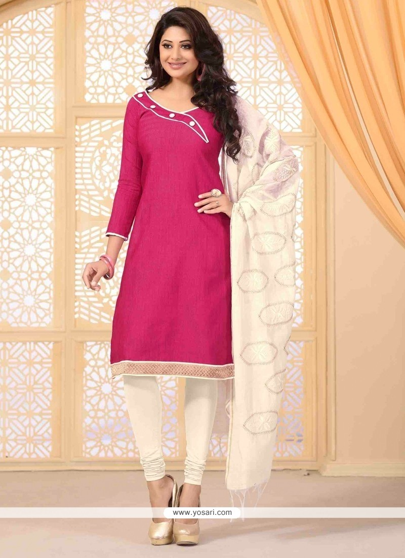 Riveting Lace Work Hot Pink Jute Silk Churidar Salwar Kameez