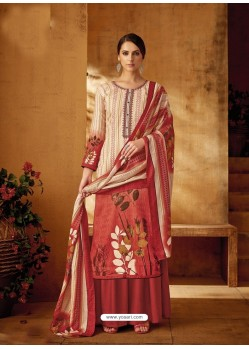 Light Beige Designer Wear Pure Pashmina Jacquard Palazzo Salwar Suit