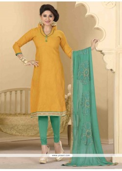 Renowned Lace Work Churidar Designer Suit