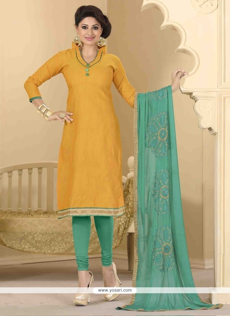 Renowned Lace Work Churidar Designer Suit