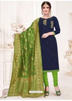 Navy Blue Designer Party Wear Readymade Churidar Salwar Suit