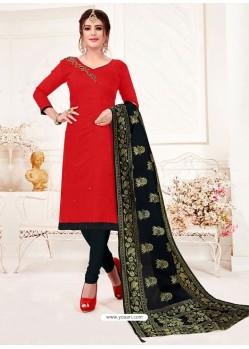 Red Designer Party Wear Readymade Churidar Salwar Suit