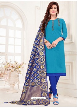 Blue Designer Party Wear Readymade Churidar Salwar Suit