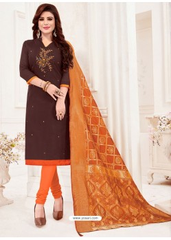 Coffee Designer Party Wear Readymade Churidar Salwar Suit